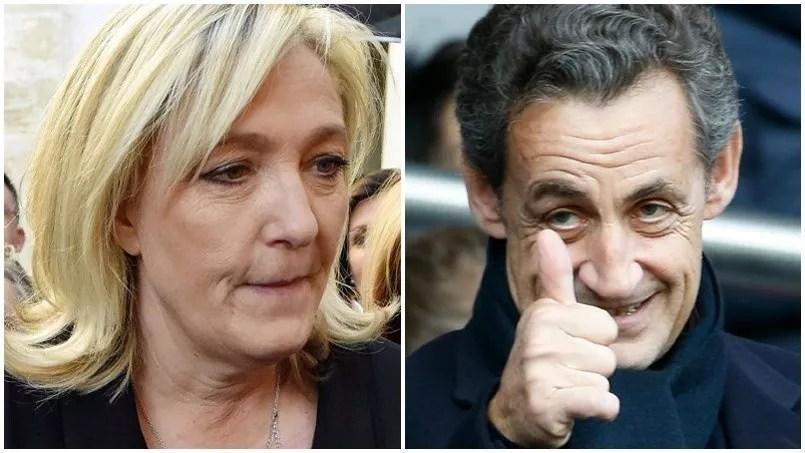 La présidente du Front national Marine Le Pen et le président de l'UMP Nicolas Sarkozy.
