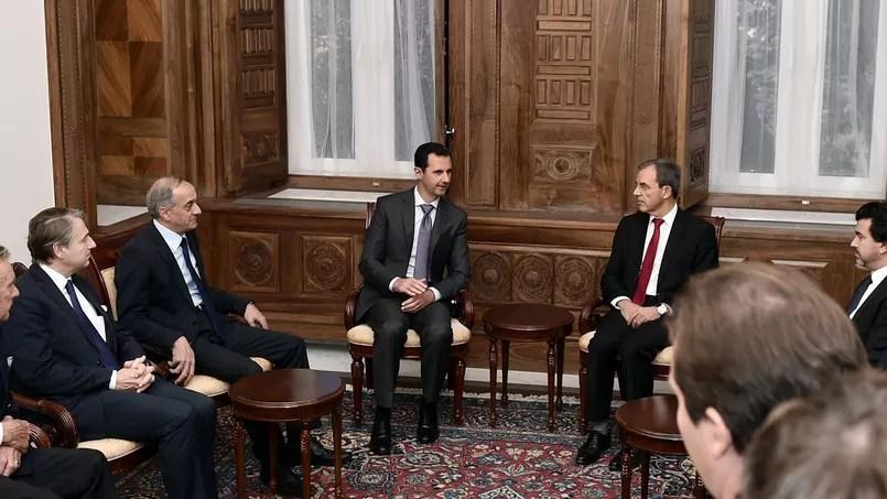 Le raïs syrien, Bachar el-Assad et le député des Français de l'étranger, Thierry Mariani, lors d'une précédente visite.