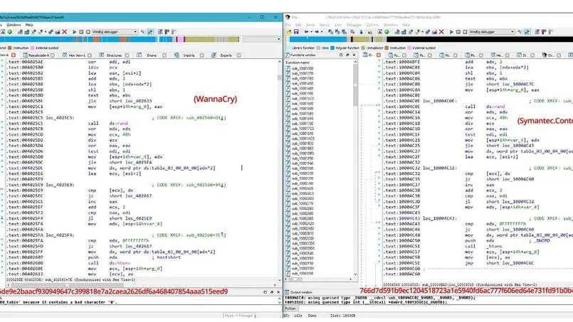 La comparaison des codes de WannaCry et d'un programme du groupe Lazarus.