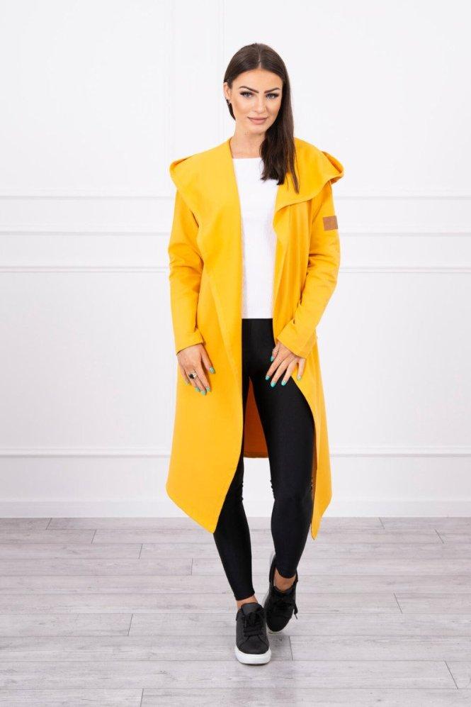 Long cardigan with hood mustard