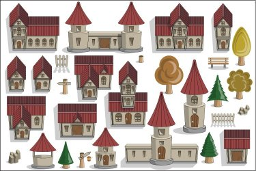 A Set of Medieval Houses and Elements 451084 Objects Design Bundles