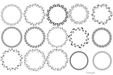 Floral wreath clipart Black round circle leaf border clip art 100974 Illustrations Design Bundles