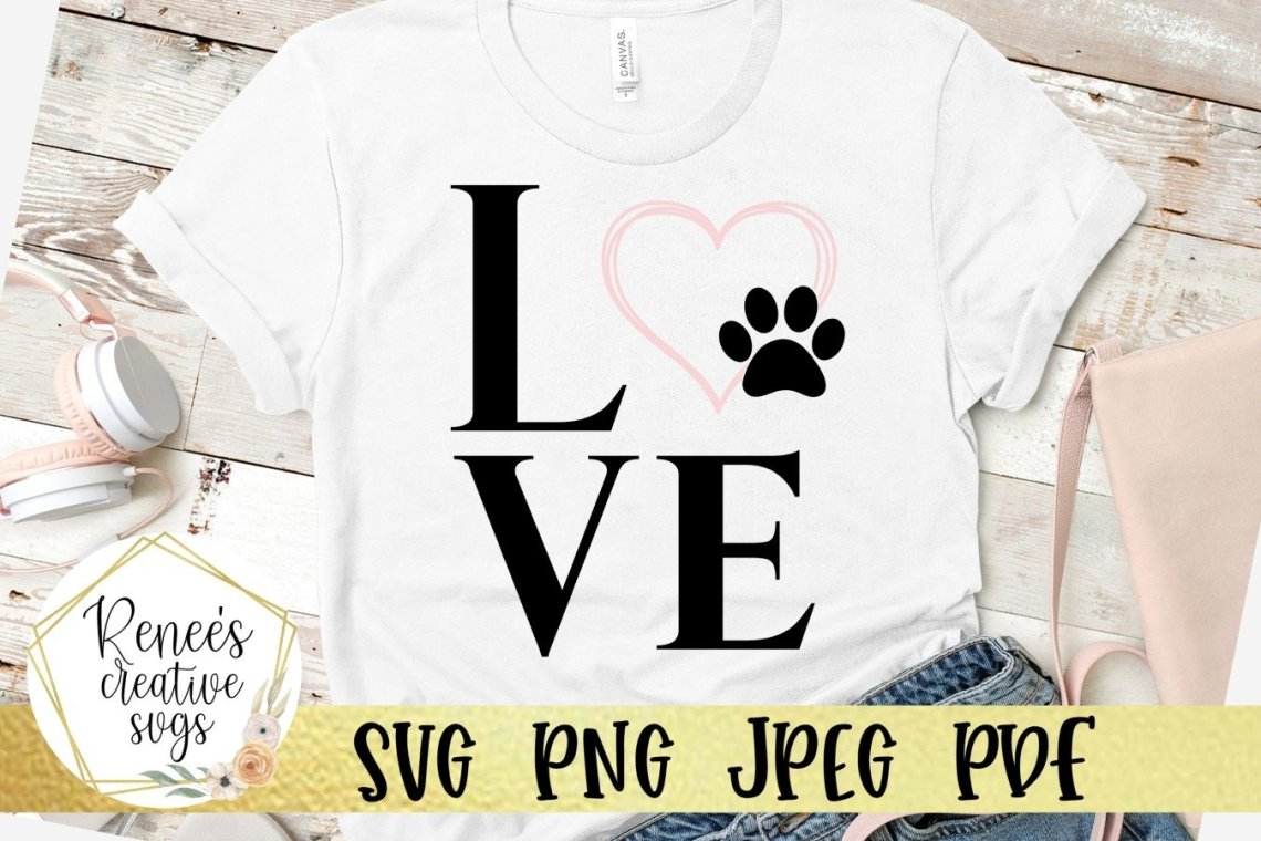 Download Love With Paw Print heart | LOVE | SVG Cutting File ...