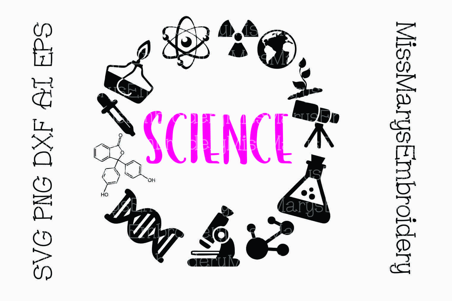 Science Subject Frame SVG Cutting File PNG DXF AI EPS