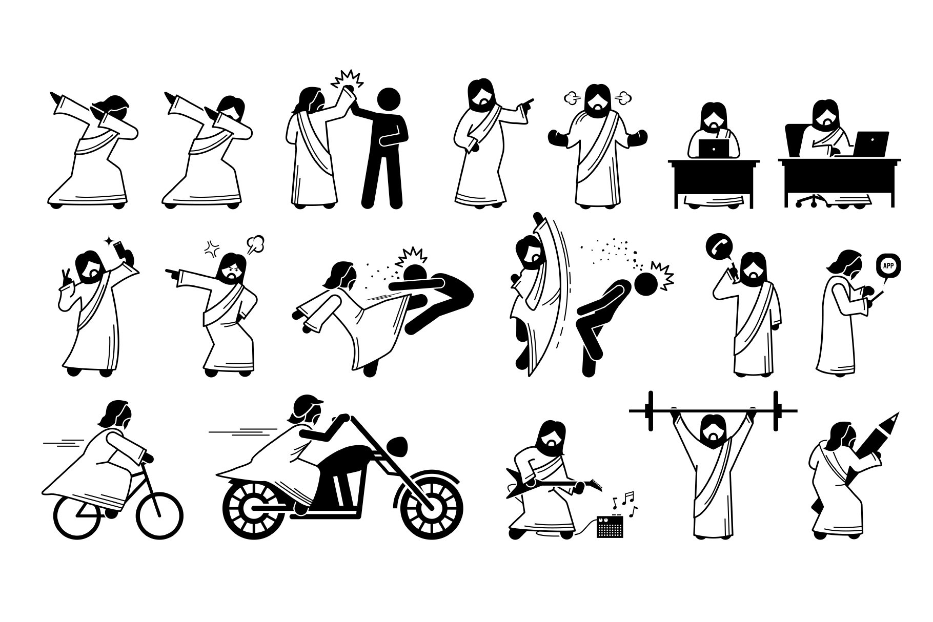 Funny Jesus Christ Stick Figure Character Actions
