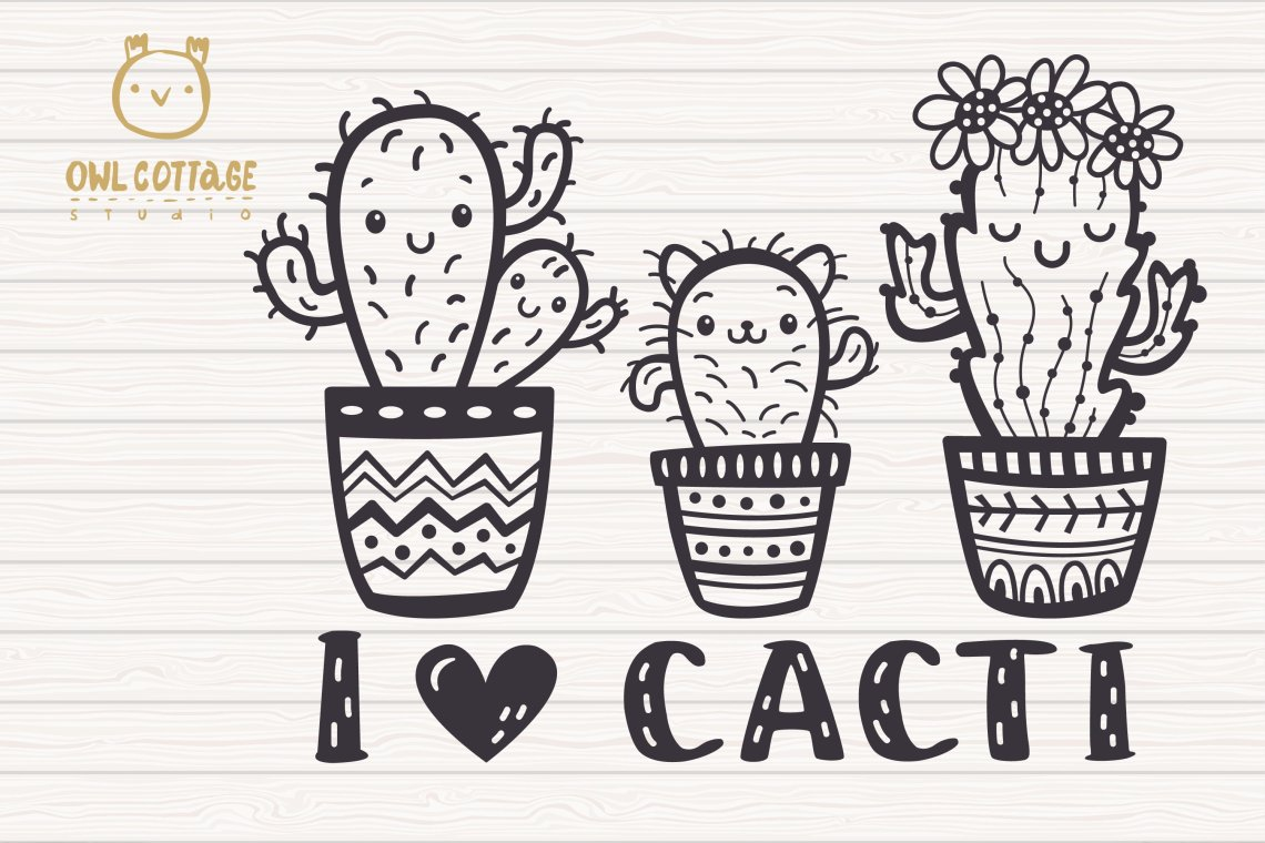 Download Cute Cacti mini SVG Bundle , I love Cacti cut file (565328 ...