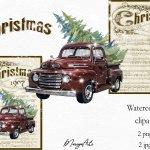 Merry Christmas Music Sheet Vintage Red Truck Retro Clipart 736431 Illustrations Design Bundles