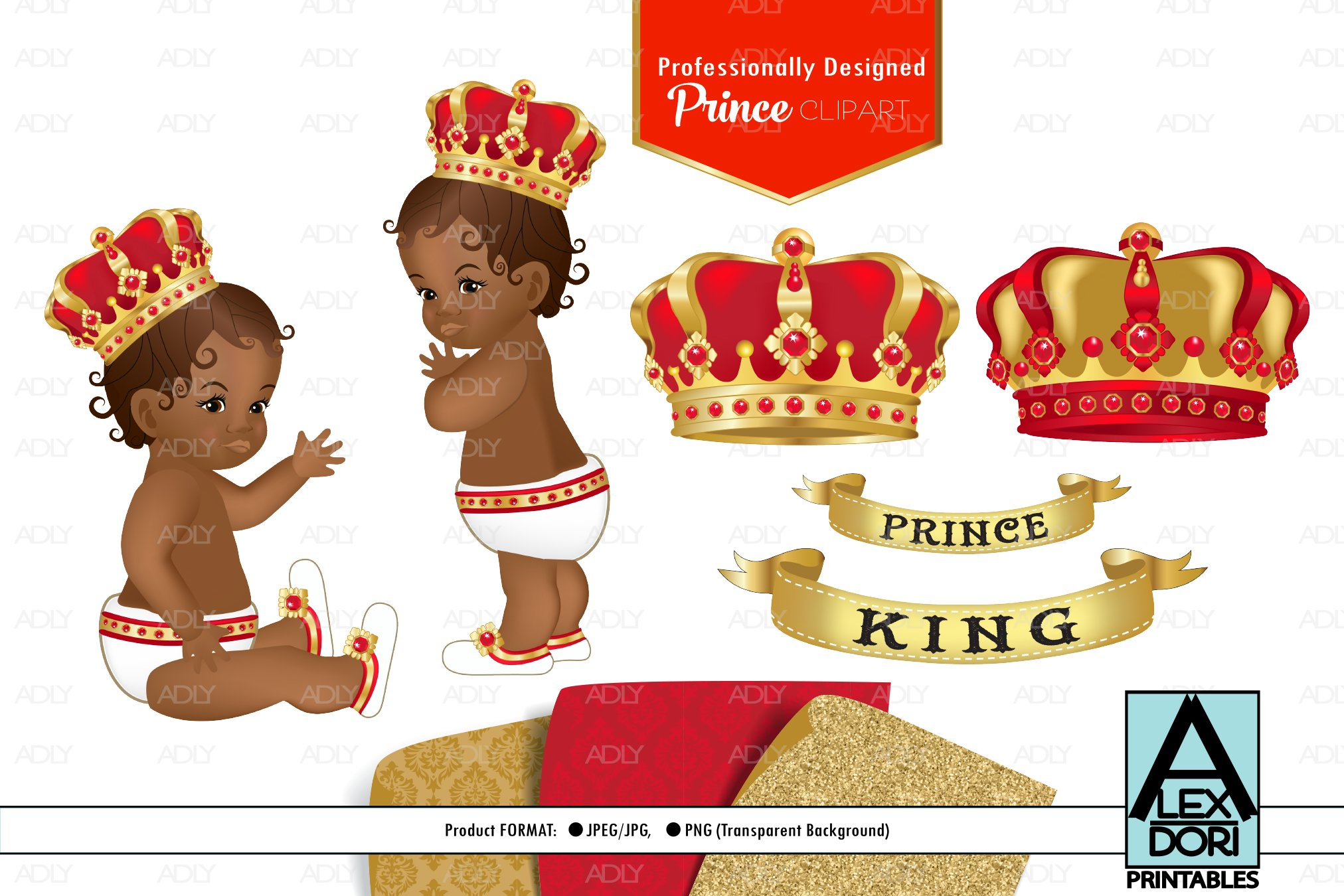 red gold baby boy prince png clipart set background