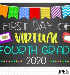 First Day Virtual Fourth Grade Sign- First Day of School (853377)   Signs    Design Bundles [ 1000 x 1500 Pixel ]