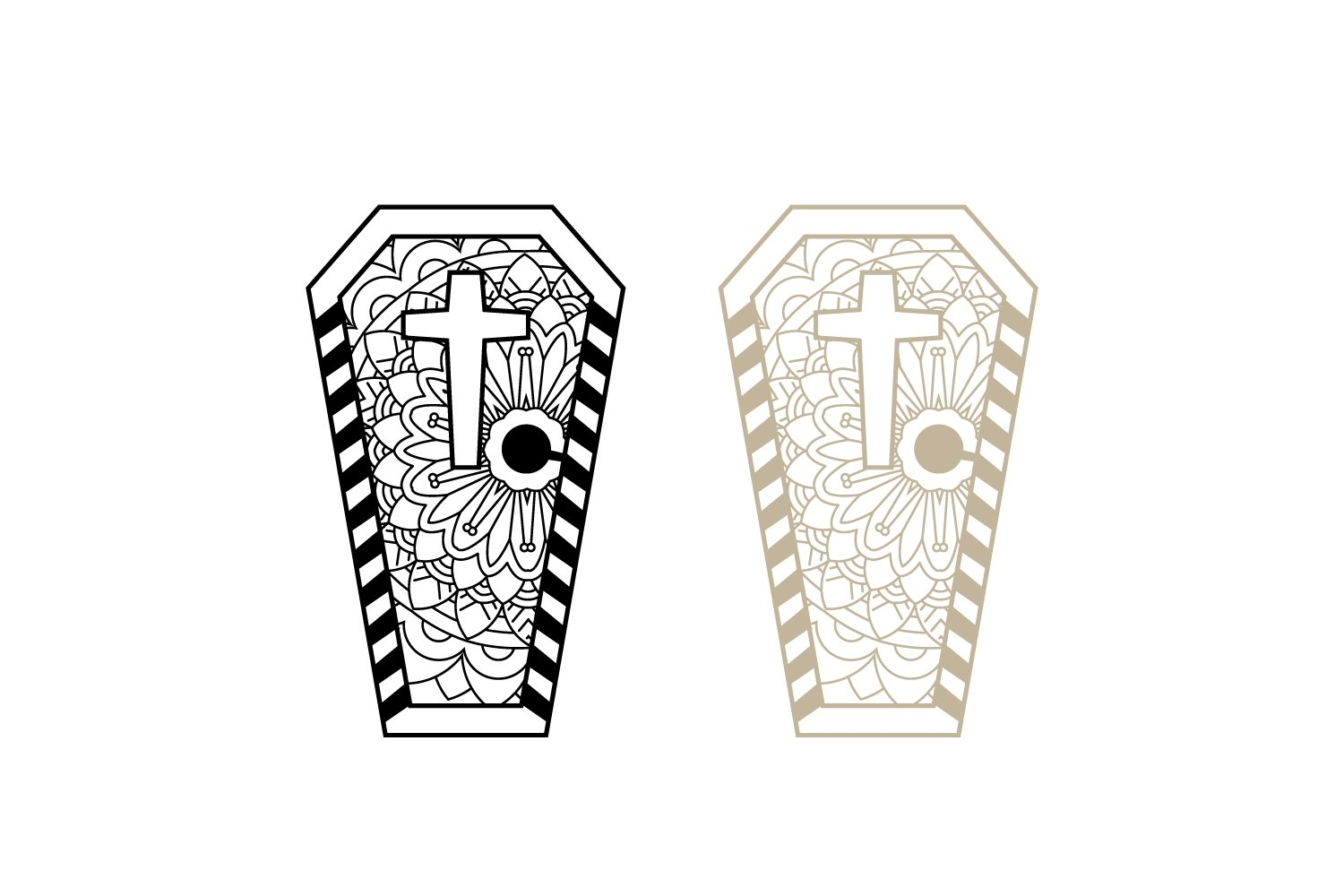 Coffin Paper Cut Template with Cross, Laser Cut SVG