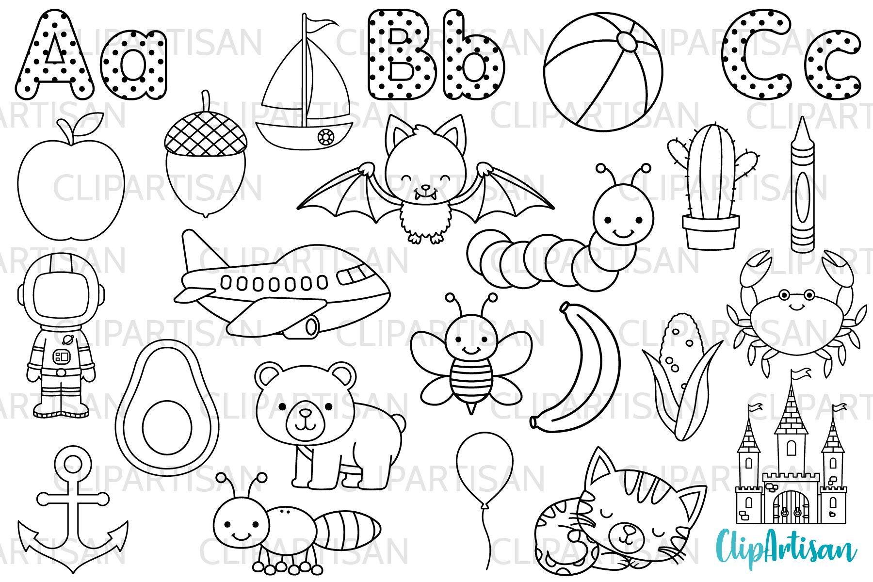 Alphabet Clip Art, ABC Illustrations, Digital Stamps