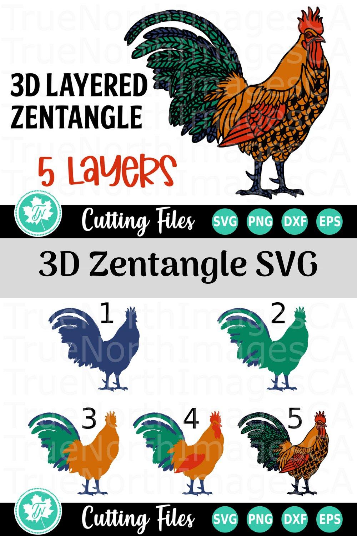 Cute Chicken Svg : chicken, Layered, Rooster, Zentangle, (537934), Files, Design, Bundles