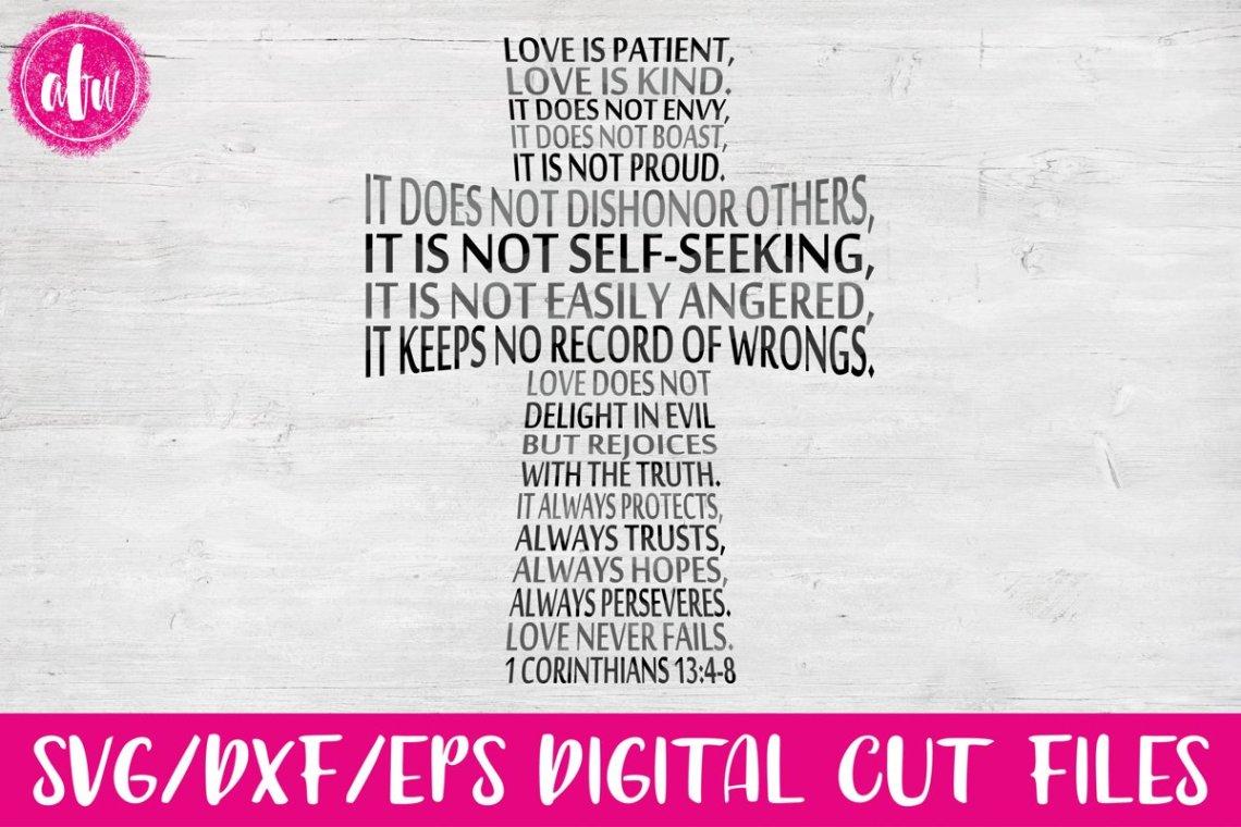 Download Love is Patient Cross - SVG, DXF, EPS Cut File (14806 ...