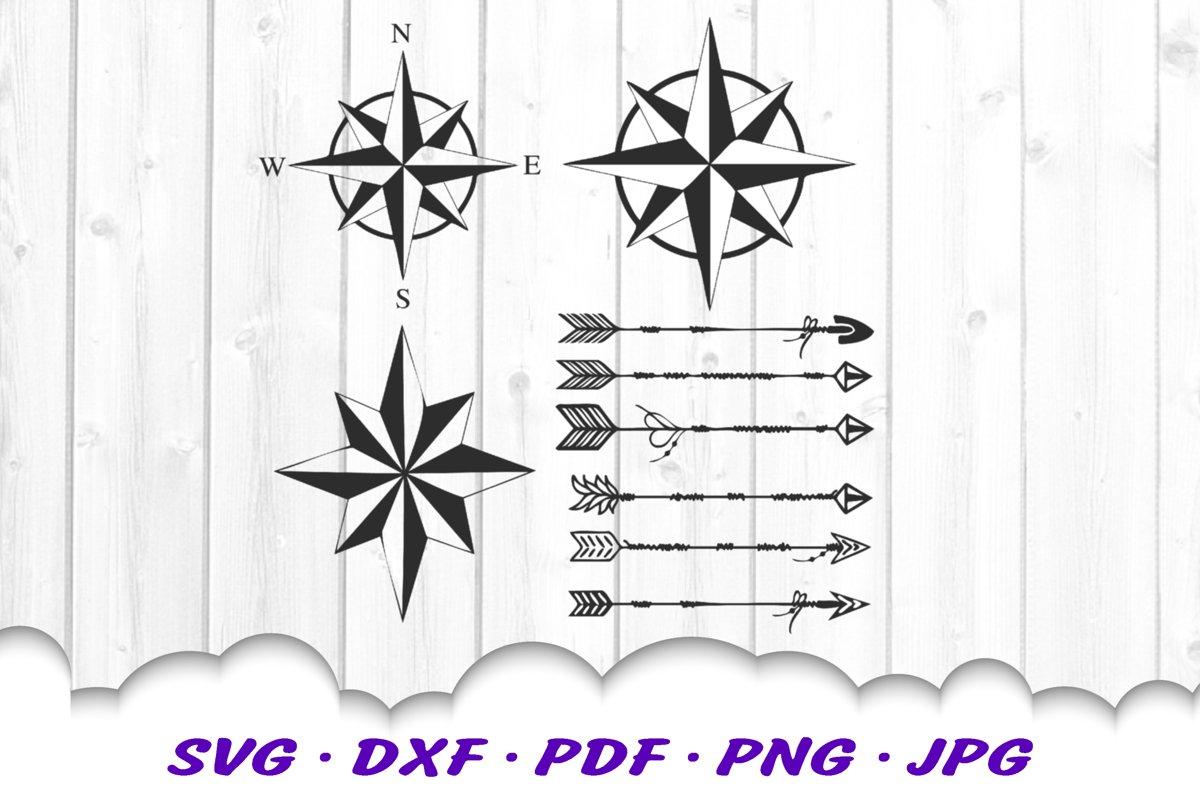 Arrow Compass Adventure SVG DXF Cut Files Bundle (545667
