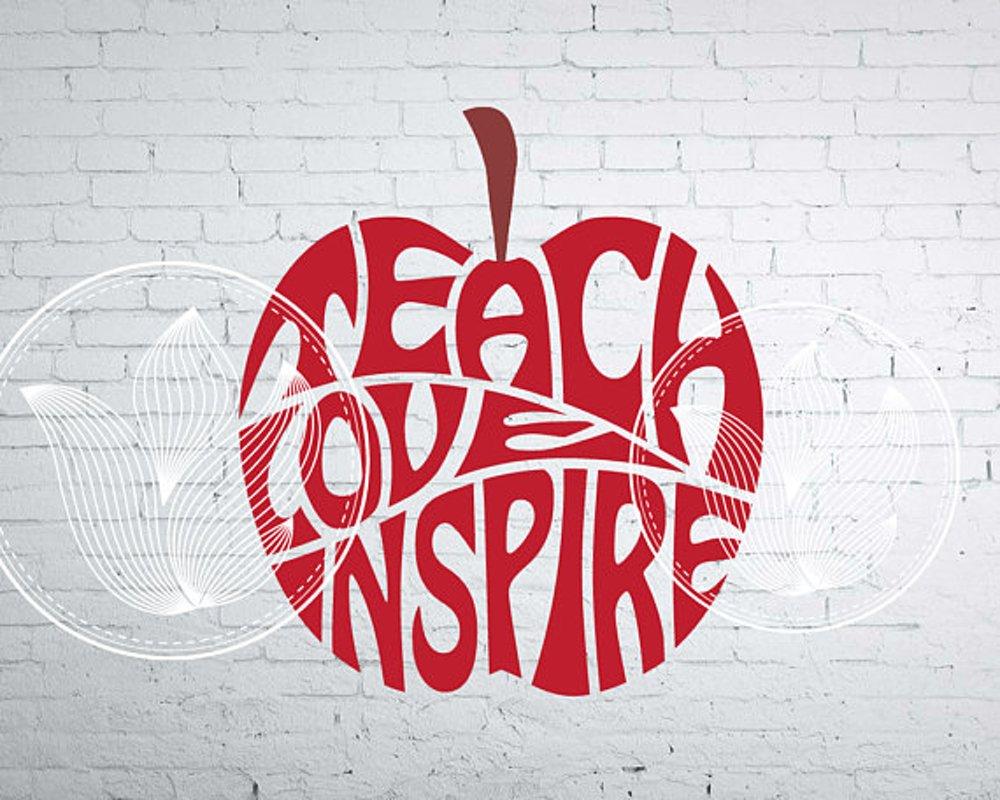 Download Teach Love Inspire Apple design for teacher, svg, dxf, png ...
