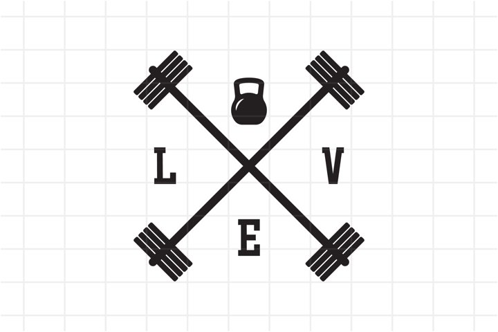 Gym Bodybuilding SVG, Love with barbells and kettle bell