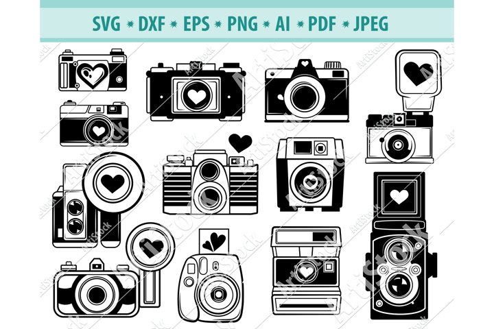 Download Camera svg, Retro Camera with Heart SVG, Love Dxf, Png ...