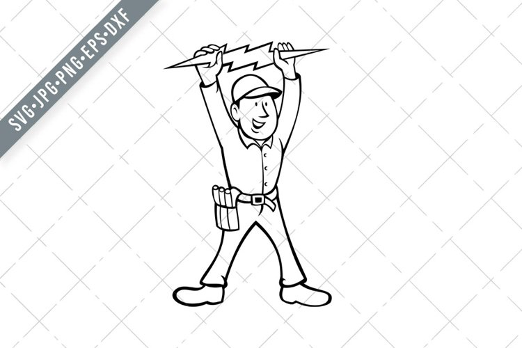 Electrician Holding Up Lightning Bolt Front View Cartoon
