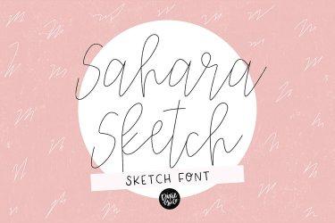 """""""SAHARA SKETCH"""" Sketch Font - Single Line/Hairline Font example image 1"""