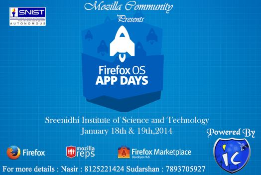 Firefox OS App Days in SNIST, Hyderabad on January 18-19, 2014