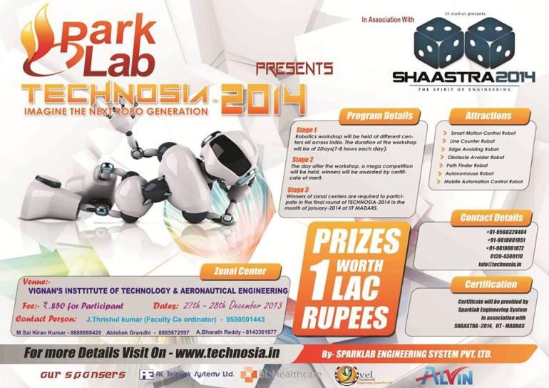 TECHNOSIA - Workshop on Robotics in Hyderabad on December 27-28, 2013