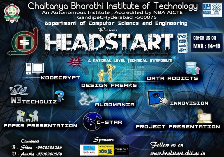 Headstart 2014 - Tech Event in CBIT, Hyderabad from March 14-15, 2014