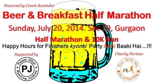Beer and Breakfast Half Marathon in Gurgaon on June 20, 2014