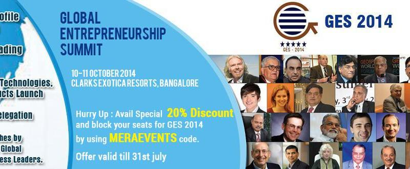 Global Entrepreneurship Summit 2014 in Bangalore on October 10-11, 2014