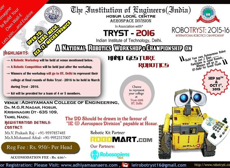 Hand Gesture Robotics Workshop and Championship in TamilNadu from Sep. 30 - Oct. 1, 2015