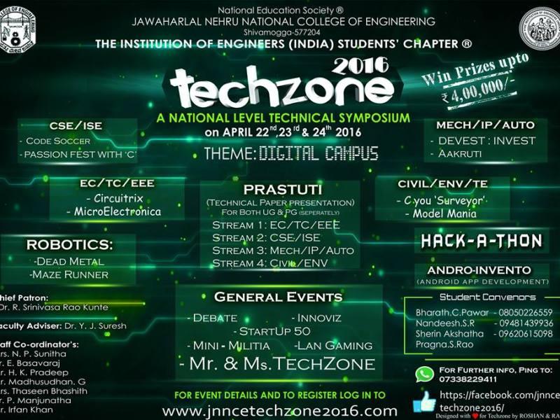 TECHZONE 2016 - Technical Festival in Karnataka from April 22-24, 2016