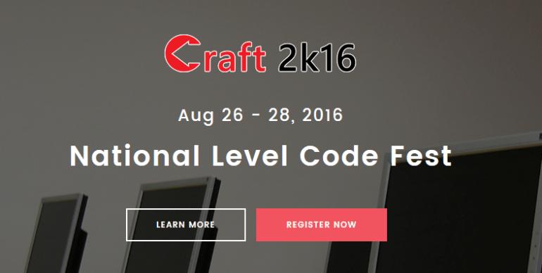 Craft 2K16 - Technical Fest in Kanchipuram from August 26-28, 2016