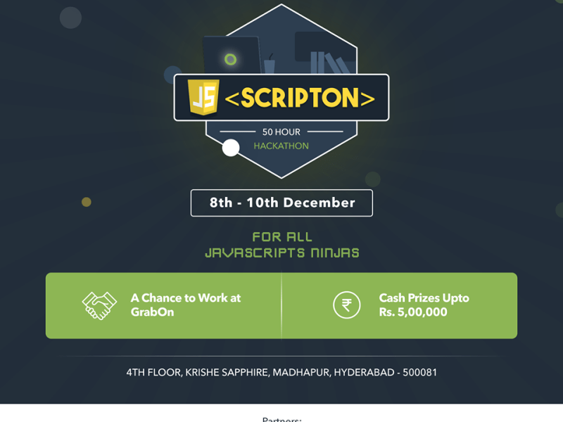 SCRIPTON - Hackathon by GrabOn in Hyderabad from December 8-10, 2017