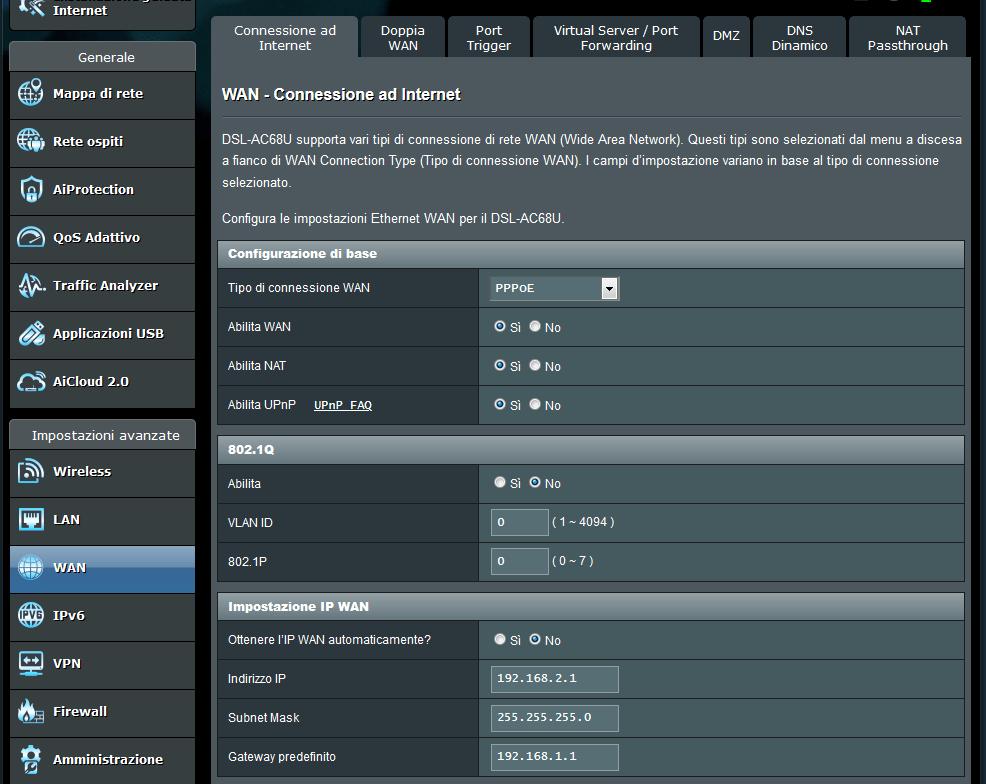 Configurazione Asus DSL-AC68U in Cascata ad uno Zyxel VMG8823-B50B - FibraClick Forum