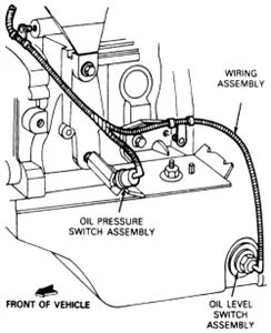 Where is the oil pressure sensor located on a 2005 Ford