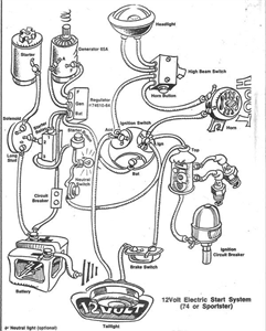 Wiring diagram for a rigid frame with a shovelhead engine