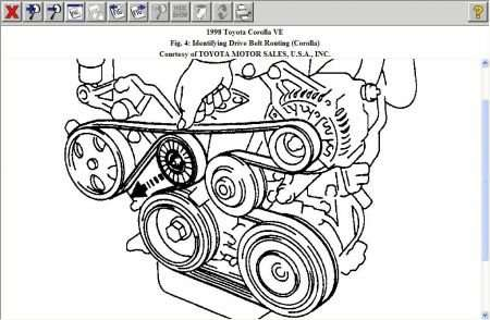 Toyota corolla 1998 serpentine belt diagram and