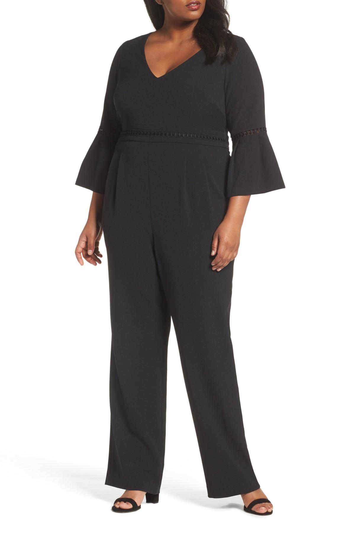 Eliza  women   regular size guideinches also bell sleeve jumpsuit sz  black ebay rh
