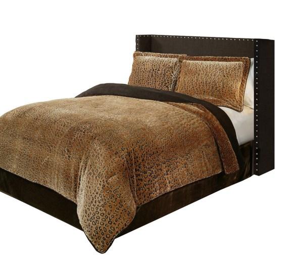 Queen King Bed Bag 3 Pc Cheetah Animal Print Plush