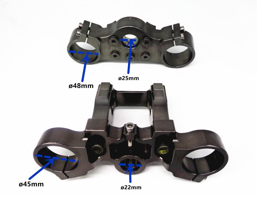 medium resolution of cnc alloy billet triple clamps triple tree bar riser 45mm 48mm usd dirt fork