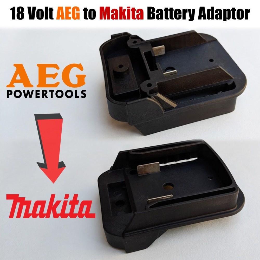 medium resolution of aeg to makita 18 volt battery adaptor plate converts twin pin 18v batteries