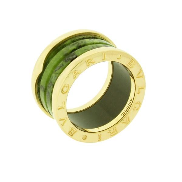 Bvlgari .zero1 Green Marble 4 Band Ring In 18k Rose Gold