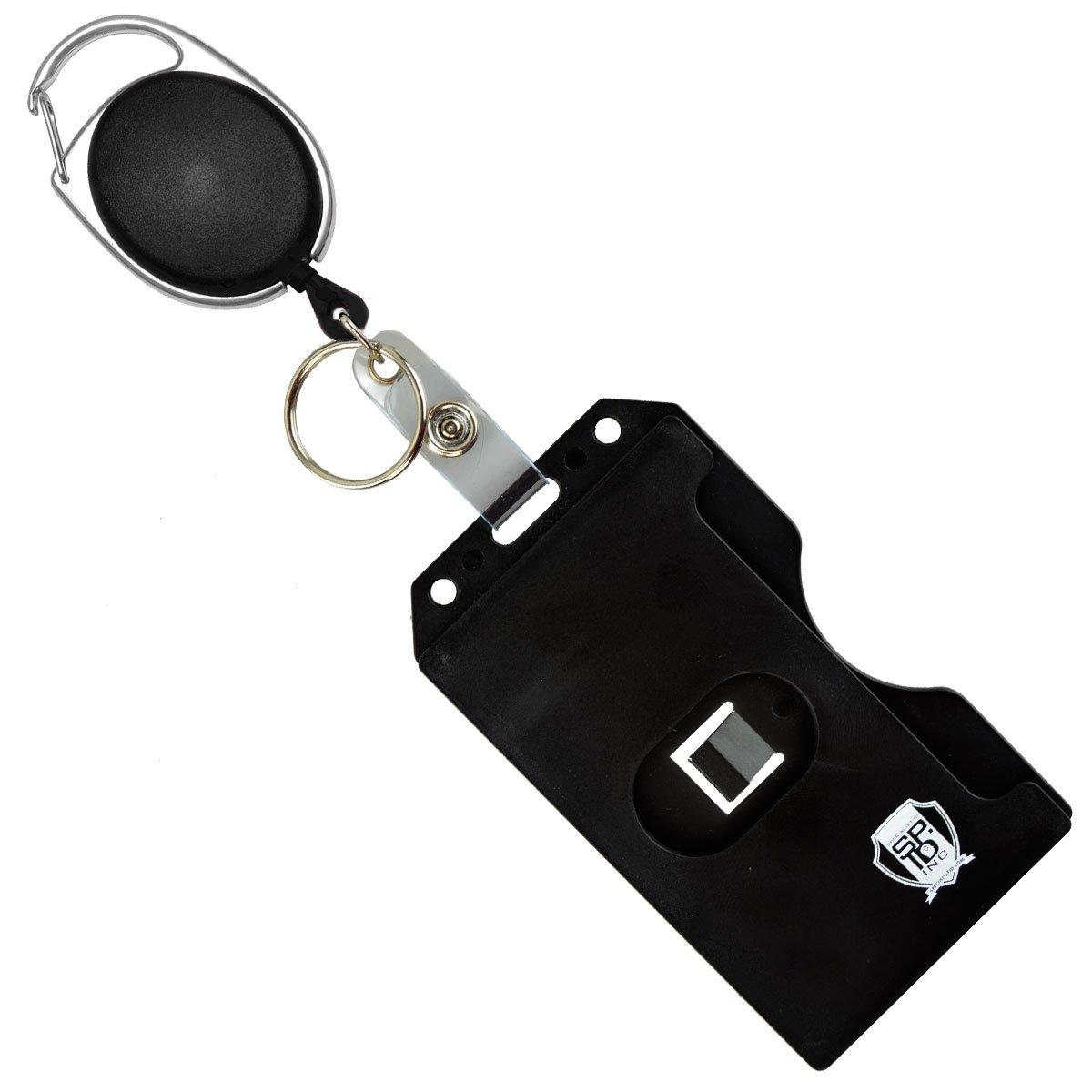 Carabiner Badge Reel with Multi Card Hard Plastic ID Badge