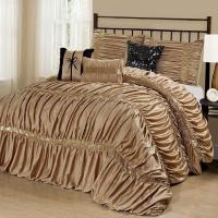 NEW Queen Cal King Bed Solid Gold Black Sequin Striped 7pc ...