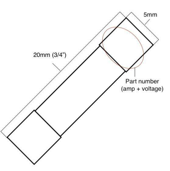 5x T8AL250V, T8A 250V, T8L250V cartridge GLASS fuses