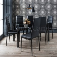 Dining Table and 6 Chairs Set Glass Dining Table Black and ...