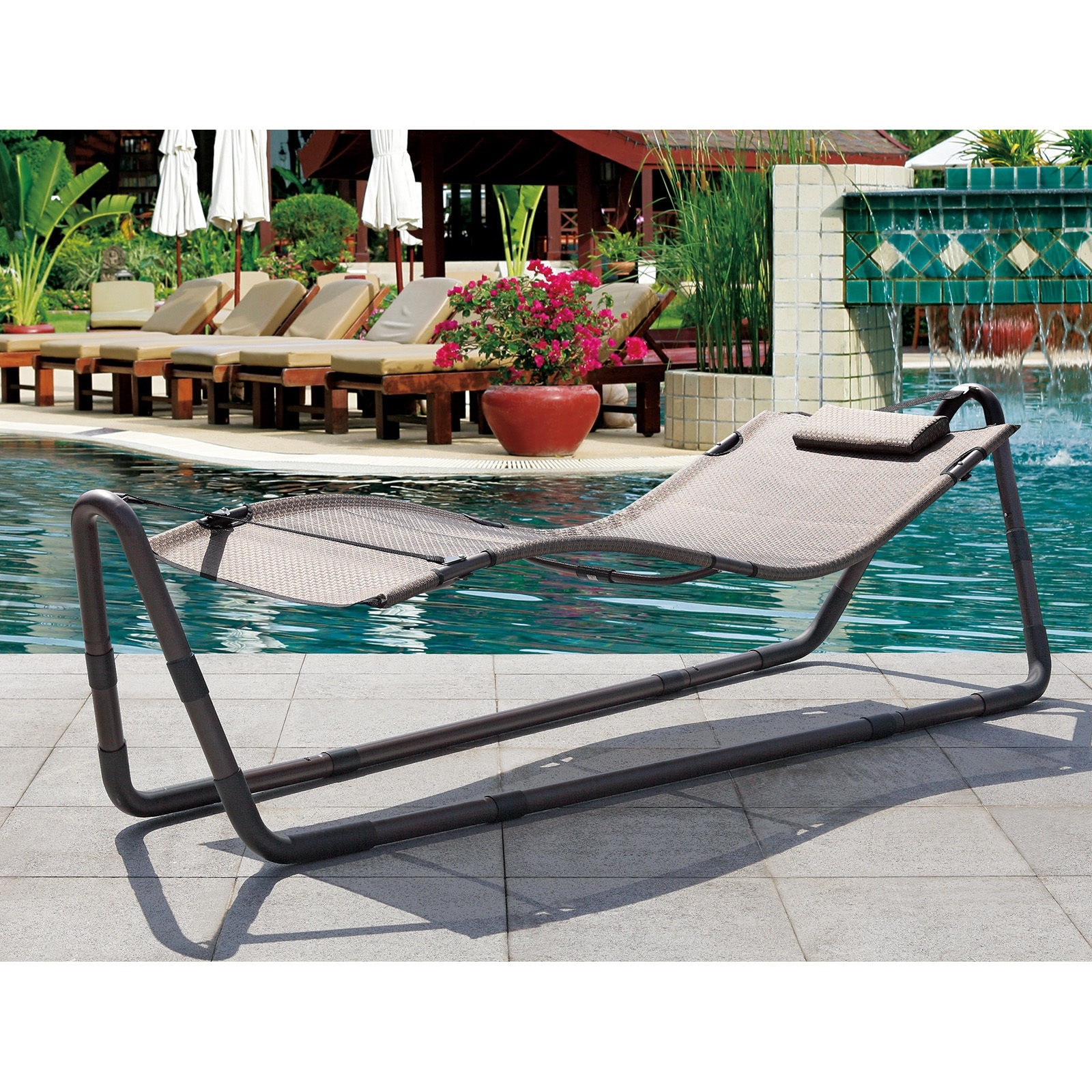 Pool Deck Chairs Modern Outdoor Patio Hammock Sun Bed Deck Pool Lounge Chair