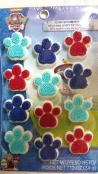 Paw Patrol Icing Decorations Paw Print 12 Ct Party Wilton ...