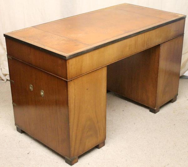 Edwardian Antique Walnut Twin Pedestal Military Desk with