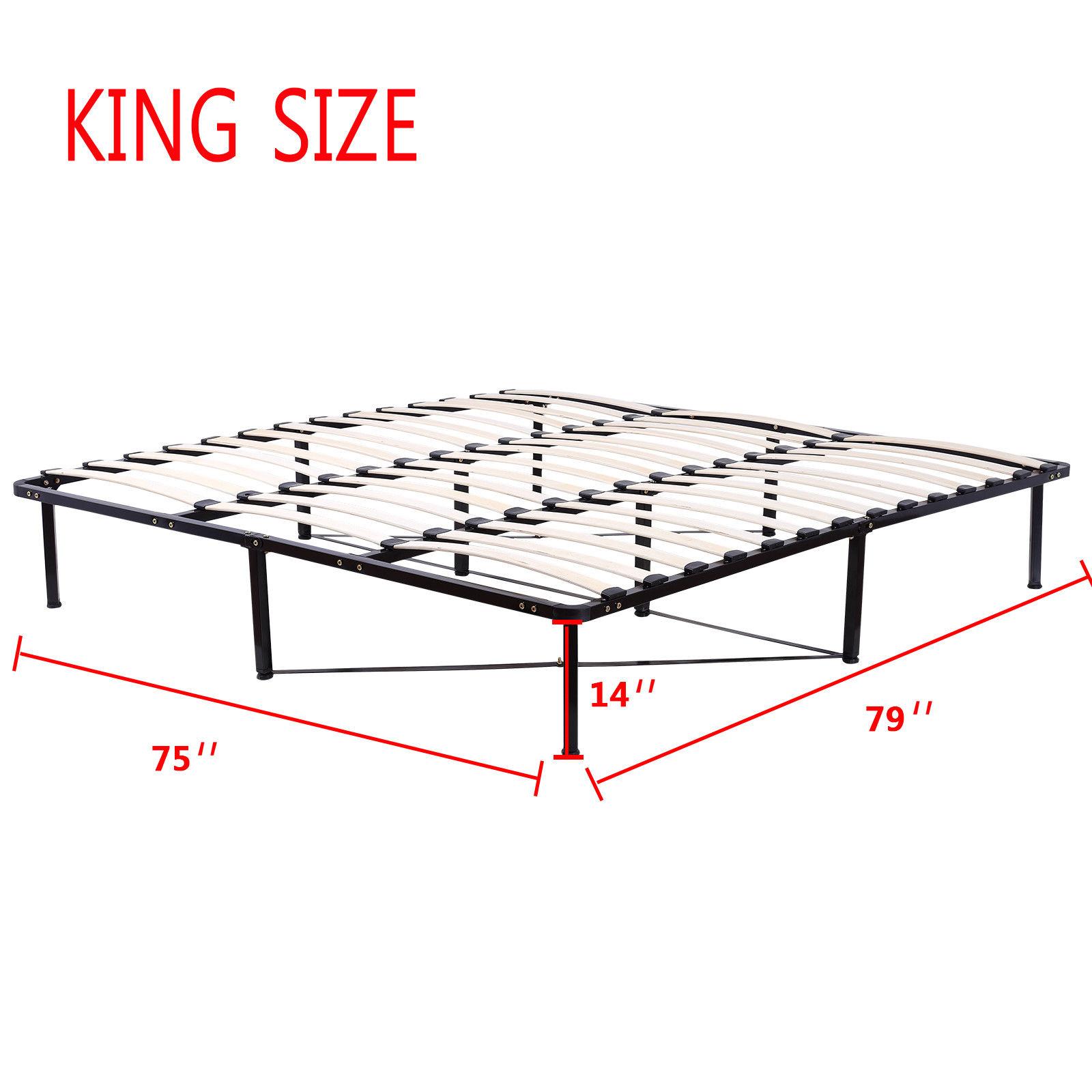 Wood Slats Metal Bed Frame Platform Bedroom Mattress