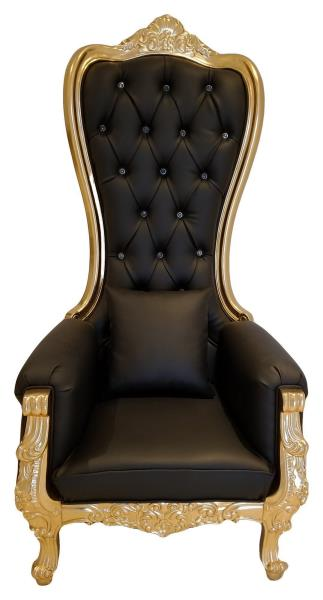 high backed throne chair vitra ergonomic baroque queen back spa in black leather gold frame